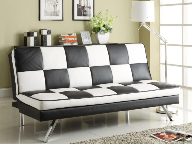 Click Clack Retro Faux Leather Checked Sofa Bed