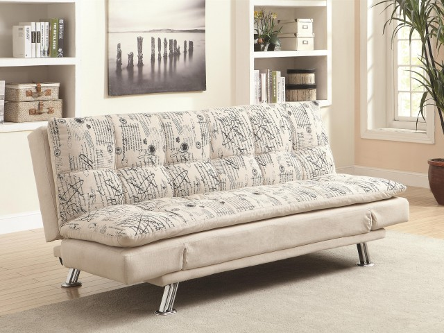 Sofa Bed with Script Pattern and Metal Legs