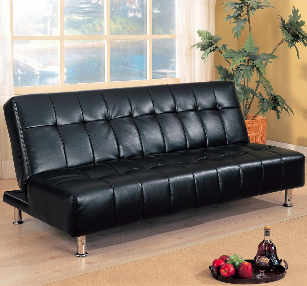 Faux Leather Armless Convertible Sofa Bed