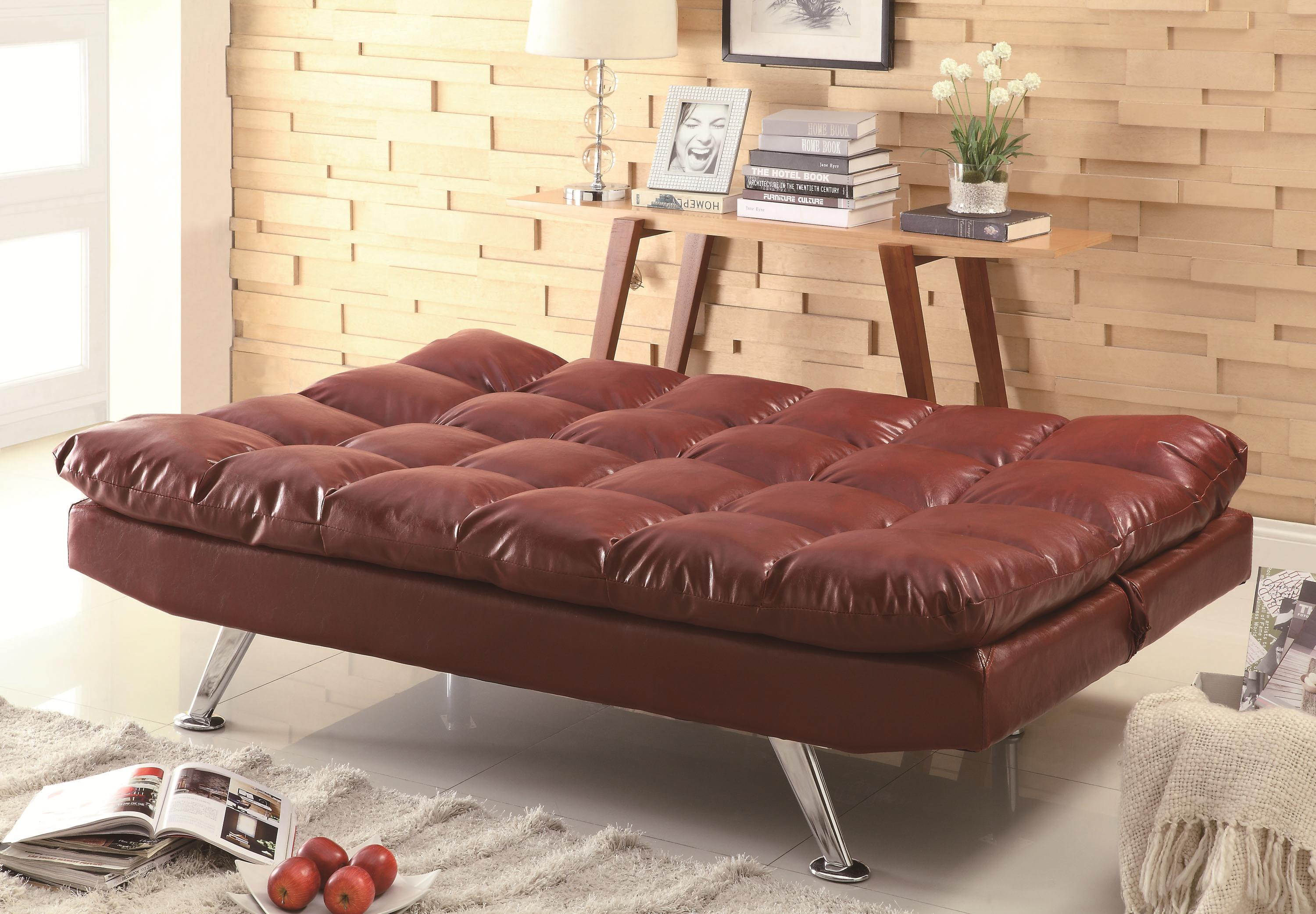contemporary red vinyl sofa bed with pillow top cushioning  big  - sofa bedsb