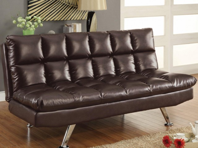 Dark Tri-Tone Brown Vinyl Sofa Bed