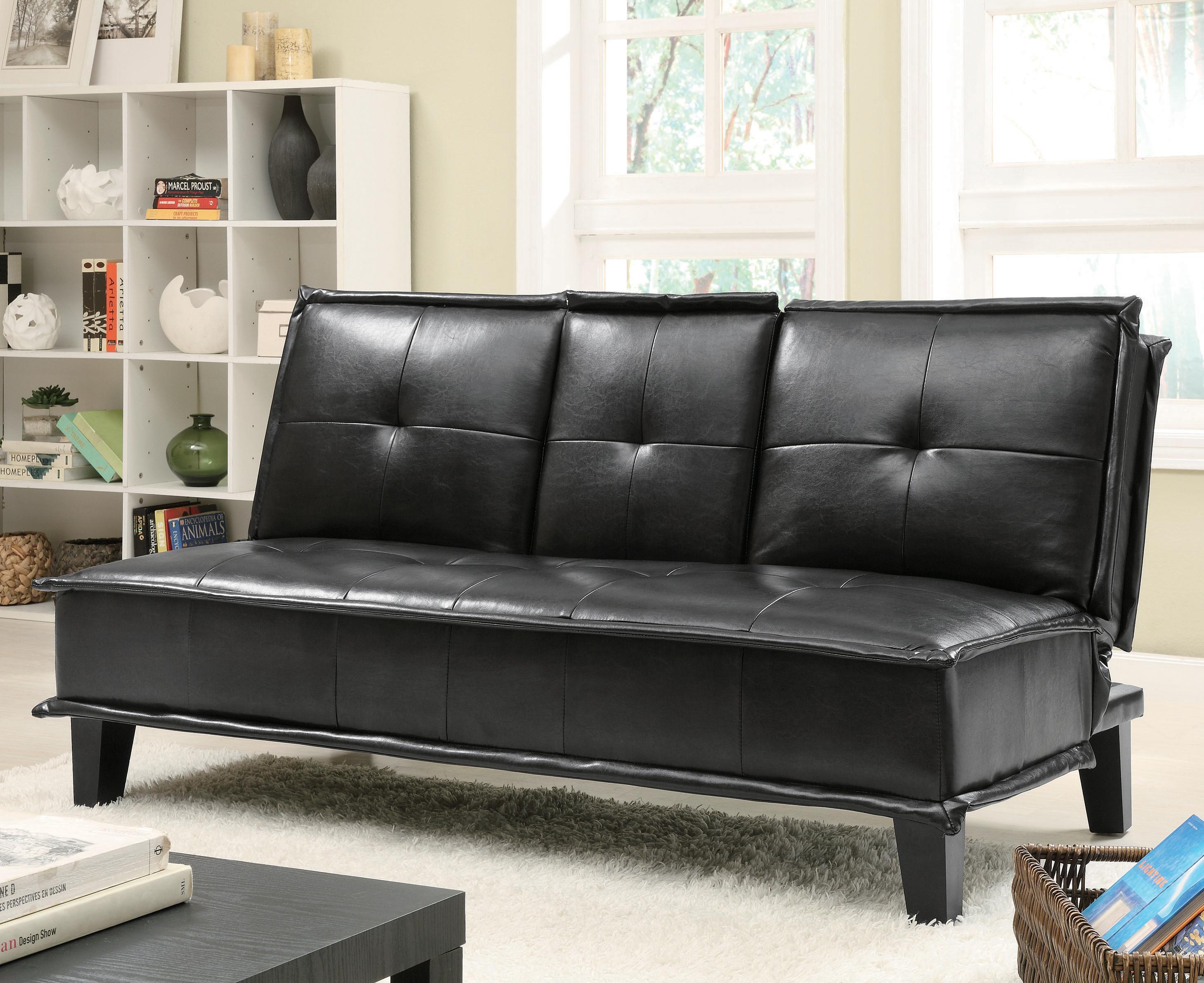 Contemporary Black Vinyl Sofa Bed with Drop Down Table   Big City Futon