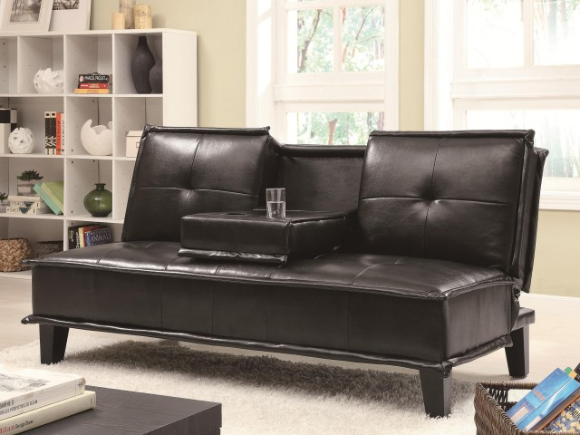 Contemporary Black Vinyl Sofa Bed with Drop Down Table