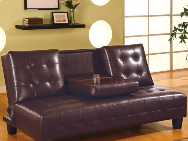 Armless Convertible Sofa Bed with Drop Down Console
