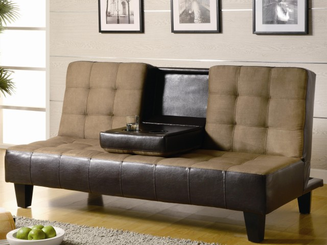 Contemporary Two Tone Convertible Sofa Bed with Drop Down Console