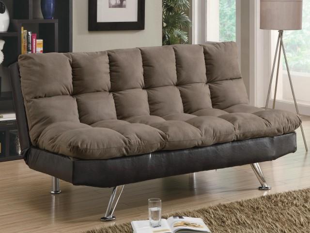 Contemporary Brown Microfiber/Dark Brown Vinyl Sofa Bed